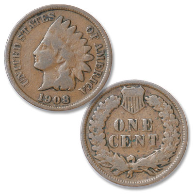 Image for 1908 Indian Head Cent, Variety 3, Bronze from Littleton Coin Company
