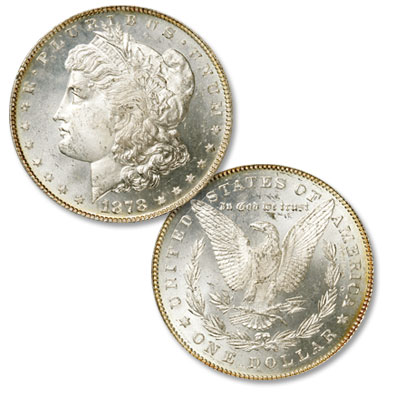 Image for 1878 Morgan Silver Dollar, 7 Over 8 Feathers from Littleton Coin Company