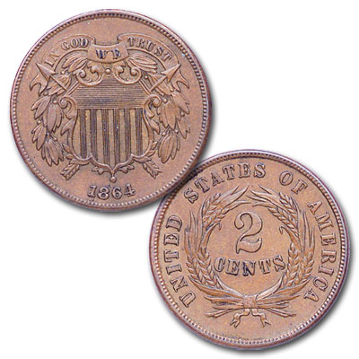 Image for 1864 Two-Cent Piece, Large Motto from Littleton Coin Company