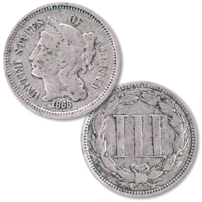 Image for 1868 Nickel Three-cent piece from Littleton Coin Company
