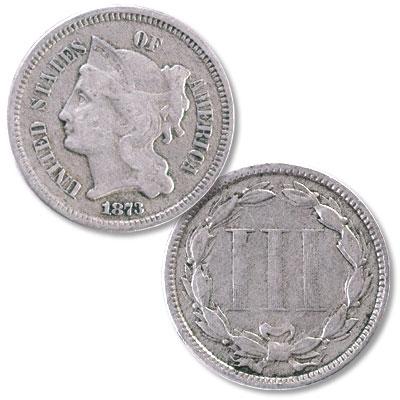 "Image for 1873 Nickel Three-Cent Piece, ""Open 3"" from Littleton Coin Company"
