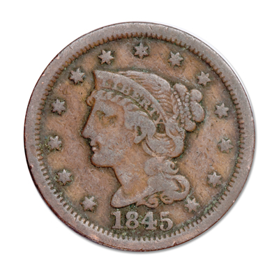Image for 1845 Braided Hair Large Cent from Littleton Coin Company