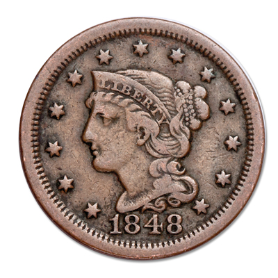 Image for 1848 Braided Hair Large Cent from Littleton Coin Company