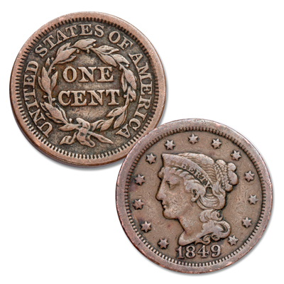 Image for 1849 Braided Hair Large Cent from Littleton Coin Company