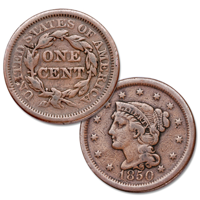 Image for 1850 Braided Hair Large Cent from Littleton Coin Company