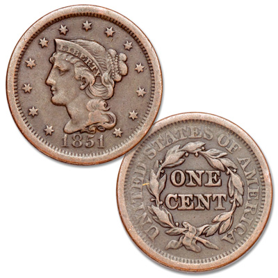 Image for 1851 Braided Hair Large Cent, Normal Date from Littleton Coin Company