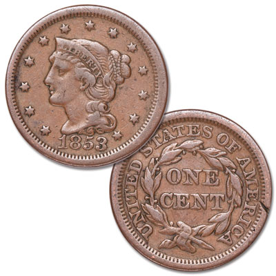 Image for 1853 Braided Hair Large Cent from Littleton Coin Company