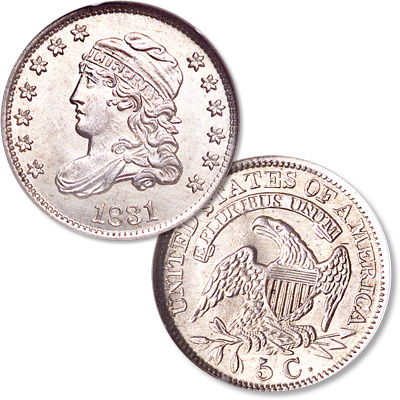 Image for 1831 Capped Bust Silver Half Dime from Littleton Coin Company