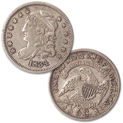 Image for 1834 Capped Bust Silver Half Dime from Littleton Coin Company