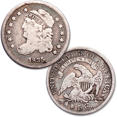 Image for 1835 Capped Bust Half Dime, Small Date & Small 5¢ from Littleton Coin Company