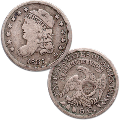 Image for 1837 Capped Bust Silver Half Dime, Large 5¢ from Littleton Coin Company