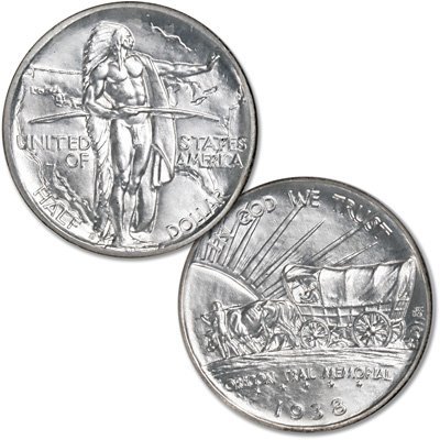 Image for 1938-D Oregon Trail Silver Half Dollars from Littleton Coin Company