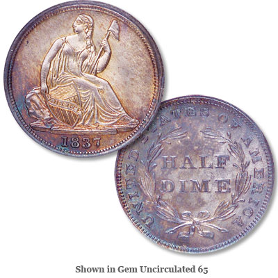 Image for 1837 Liberty Seated Silver Half Dime, No Stars, Small Date from Littleton Coin Company