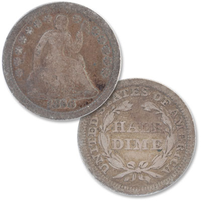 Image for 1856 Liberty Seated Silver Half Dime, Stars from Littleton Coin Company