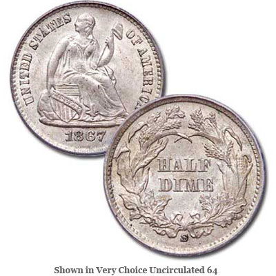 Image for 1867-S Liberty Seated Silver Half Dime from Littleton Coin Company
