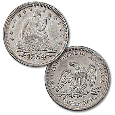 Image for 1854 Liberty Seated Silver Quarter, Arrows from Littleton Coin Company