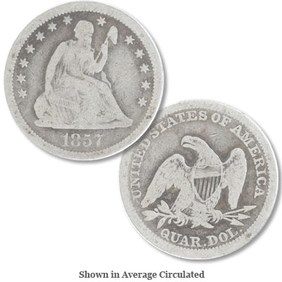 Image for 1857 Liberty Seated Quarter from Littleton Coin Company