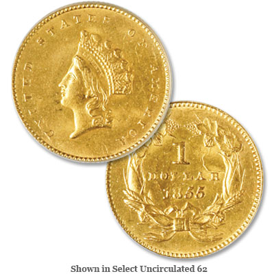 Image for 1855 Gold Indian Head, Small Head, Type 2 from Littleton Coin Company