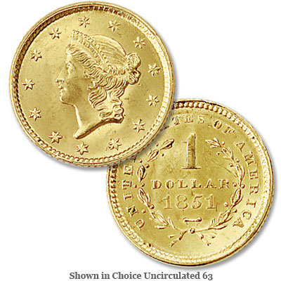 Image for 1851 Liberty Head Gold Dollar from Littleton Coin Company