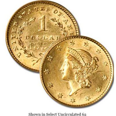 Image for 1854 Liberty Head Gold Dollar from Littleton Coin Company