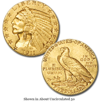 Image for 1911 Indian Head $5 Gold from Littleton Coin Company