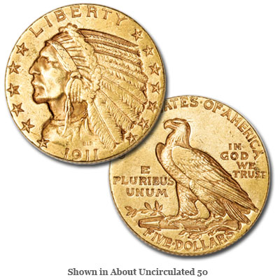 Image for 1911-S Indian Head $5 Gold from Littleton Coin Company