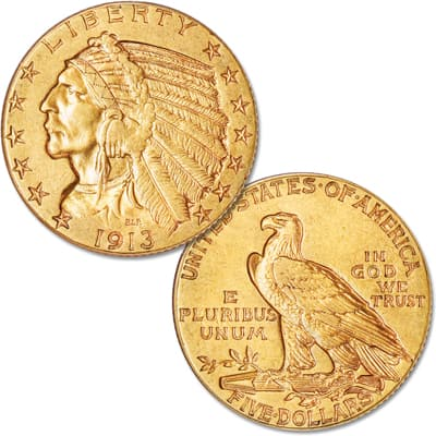Image for 1913 Indian Head $5 Gold Half Eagle from Littleton Coin Company