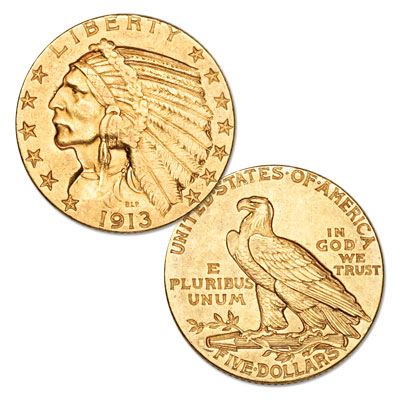 Image for 1913-S Indian Head Gold $5 Half Eagle from Littleton Coin Company