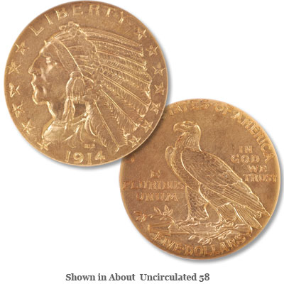 Image for 1914 Indian Head $5 Gold from Littleton Coin Company