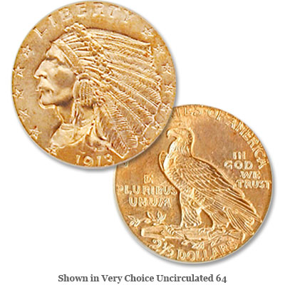 Image for 1913 Indian Head Gold $2.50 Quarter Eagle from Littleton Coin Company