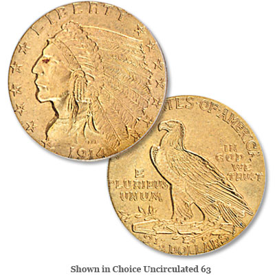 Image for 1914 Gold $2.50 Indian Head Quarter Eagle from Littleton Coin Company