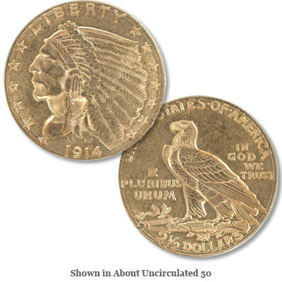 Image for 1914-D Gold $2.50 Indian Head Quarter Eagle from Littleton Coin Company