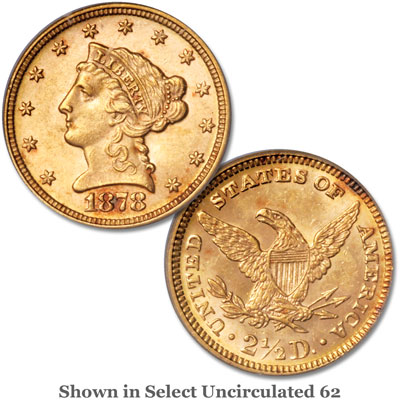 Image for 1878 $2.50 Liberty Head Gold Quarter Eagle from Littleton Coin Company