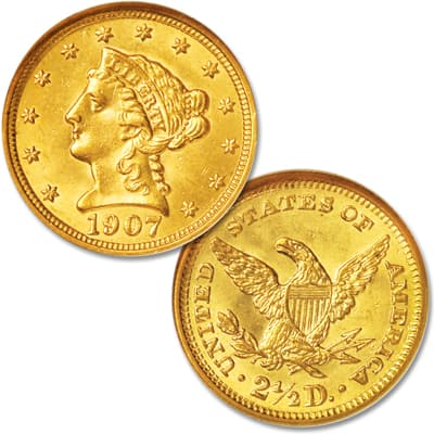 Image for 1907 Liberty Head Gold $2.50 Quarter Eagle from Littleton Coin Company