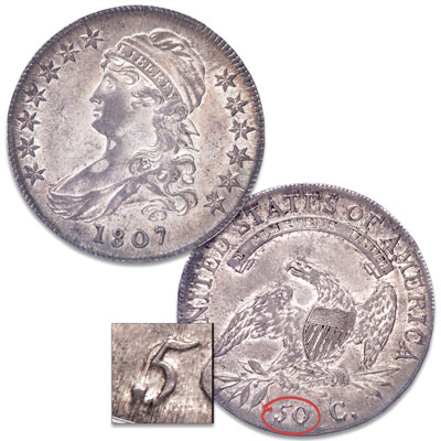 Image for 1807 Capped Bust Silver Half Dollar, Large Stars, 50 Over 20 from Littleton Coin Company