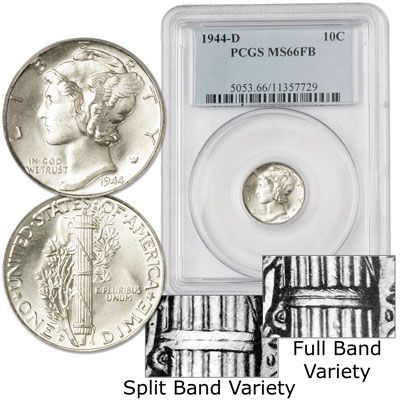 Image for 1944-D Mercury Silver Dime, Full Bands from Littleton Coin Company