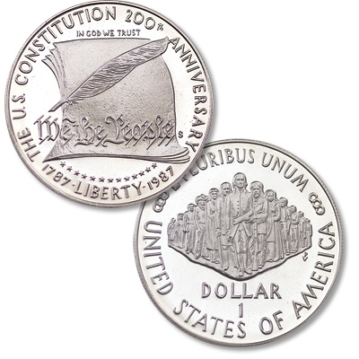 Image for 1987-S Constitution Silver Commemorative Dollar, Choice Proof, PR63 from Littleton Coin Company