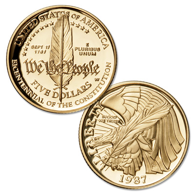 Image for 1987-W Constitution Bicentennial Gold $5, Choice Proof 63 from Littleton Coin Company
