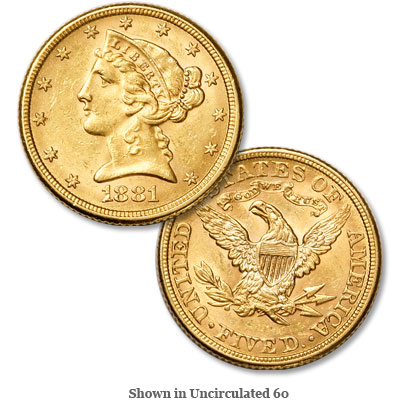 Image for 1881 Liberty Head $5 Gold from Littleton Coin Company