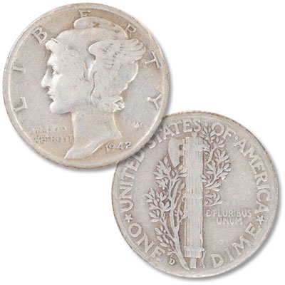 Image for 1942-D 2 Over 1 Mercury Dime from Littleton Coin Company