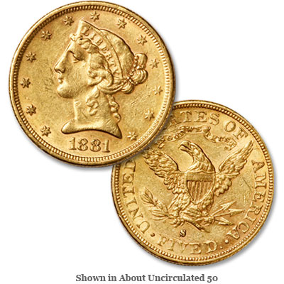 Image for 1881-S Liberty Head $5 Gold from Littleton Coin Company