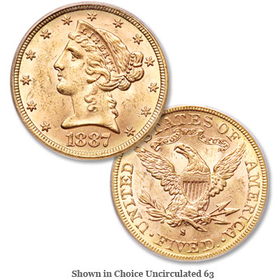 Image for 1887-S Liberty Head $5 Gold from Littleton Coin Company