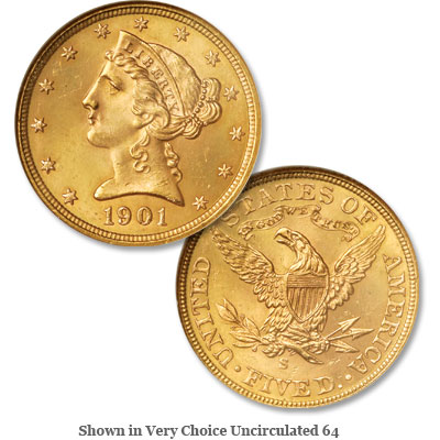 Image for 1901-S Liberty Head $5 Gold from Littleton Coin Company