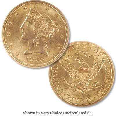 Image for 1905 Liberty Head $5 Gold from Littleton Coin Company