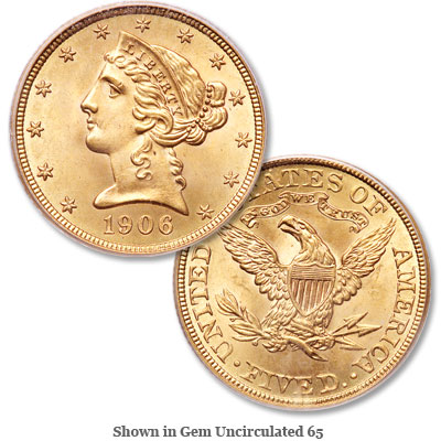Image for 1906 Liberty Head $5 Gold from Littleton Coin Company