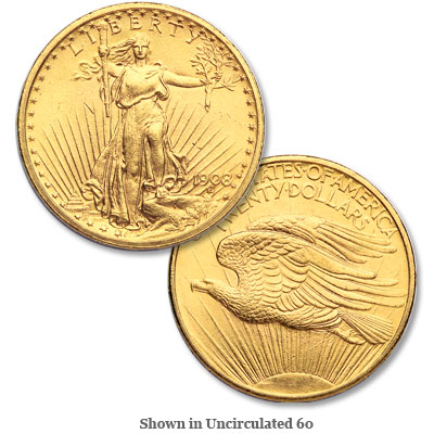 Image for 1908 Saint-Gaudens $20 Gold Piece, No Motto from Littleton Coin Company