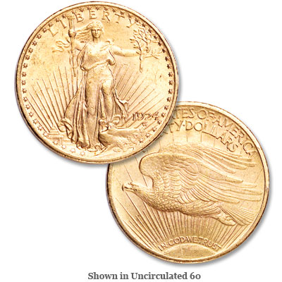 Image for 1924 Saint-Gaudens Gold $20 Double Eagle from Littleton Coin Company