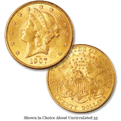 Image for 1907 Liberty Head $20 Gold Double Eagle from Littleton Coin Company