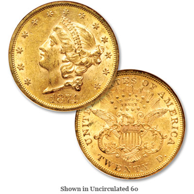Image for 1874-S Liberty Head $20 Gold from Littleton Coin Company
