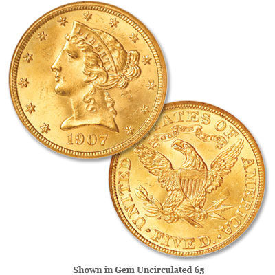 Image for 1907 Liberty Head $5 Gold Half Eagle from Littleton Coin Company